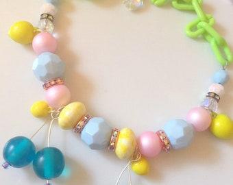 Fruit Salad Necklace, Retro Style Plastic Fruit, Vintage Fruit Necklace, Cherry Necklace, Pinup Style Necklace, Tiki Style, Rockabilly