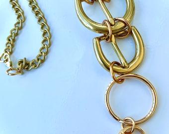 Vintage Upcycled Necklace, Vintage Belt Buckle Choker, Modern Boho Jewelry, Boho Jewelry, Assemblage Necklace, Fashion Statement Necklace