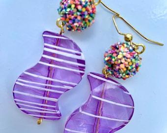 Candy Confetti Drop Earrrings, Vintage 80s /90s Earrings, Costume Jewelry, Kitsch Jewelry, Kawaii Jewelry