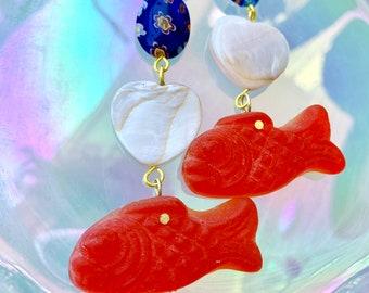 Gummy Fish Candy Earrings, Candy Jewelry, Koi Fish Earrings