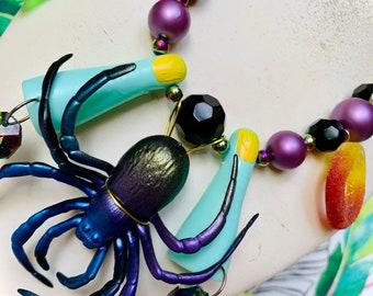 Halloween Candy Spider Charm Necklace, Toy Necklace, Fun Jewelry, Kitsch Jewelry, Spooky Necklace, Creepy Jewelry, Kawaii,