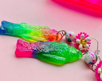 Koi Fish Earrings, Vintage Flower Resin Fish Earrings, Tiki Earrings, Pinup Jewelry, Kitschy Jewelry, Resin Jewelry, Candy Jewelry