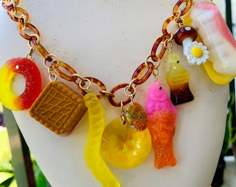 Candy Charm Necklace, Toy Necklace, Resin Jewelry, Statement Necklace, Gummy Candy, Candy Jewelry,