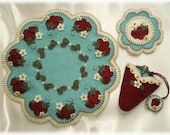 Strawberry Fields Candle Mat Set MAILED PAPER PATTERN