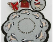 Cheerful Chickadees Candle Mat Penny Rug with Mini Mat DIGITAL PATTERN