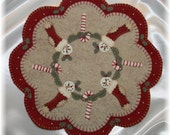 Christmas Stockings Penny Rug Candle Mat MAILED PAPER PATTERN