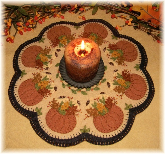 Fall S Bounty Penny Rug Candle Mat Digital Pattern Etsy