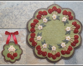Cherry Blossom Time Penny Rug/Candle Mat with Mini Mat pdf DIGITAL PATTERN