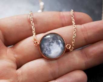 Rose Gold Custom Moon Phase Necklace - Choice of phase Glass Dome full moon pendant Statement Necklace