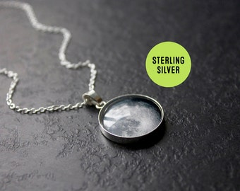 Custom Sterling Silver Birth Moon Necklace - Personalised Glass Dome full moon phase Necklace Birthday pendant