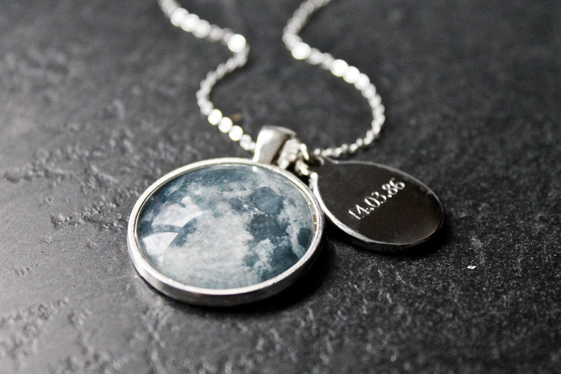 Personalised Birth Moon Necklace with Engraved Date Custom Glass Dome moon phase Necklace Birthday solar system