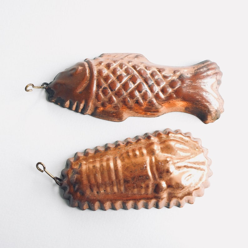 Mid Century Rustic Wall Hanging Kitchen Decor Jelly Mold French vintage Copper Tin Lined Fish and Lobster Mold