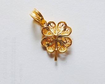 Filigranen GOLD 24K vergoldet in Sterling Silber Charm Glücksklee