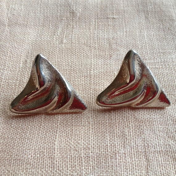 Vintage Huge Sterling Silver Triangle Earrings 80s