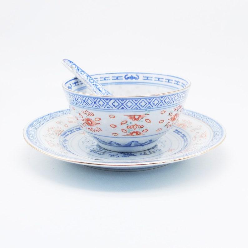 Antique SET Oriental Porcelain Soup Bowl, Assiette, Cuillère