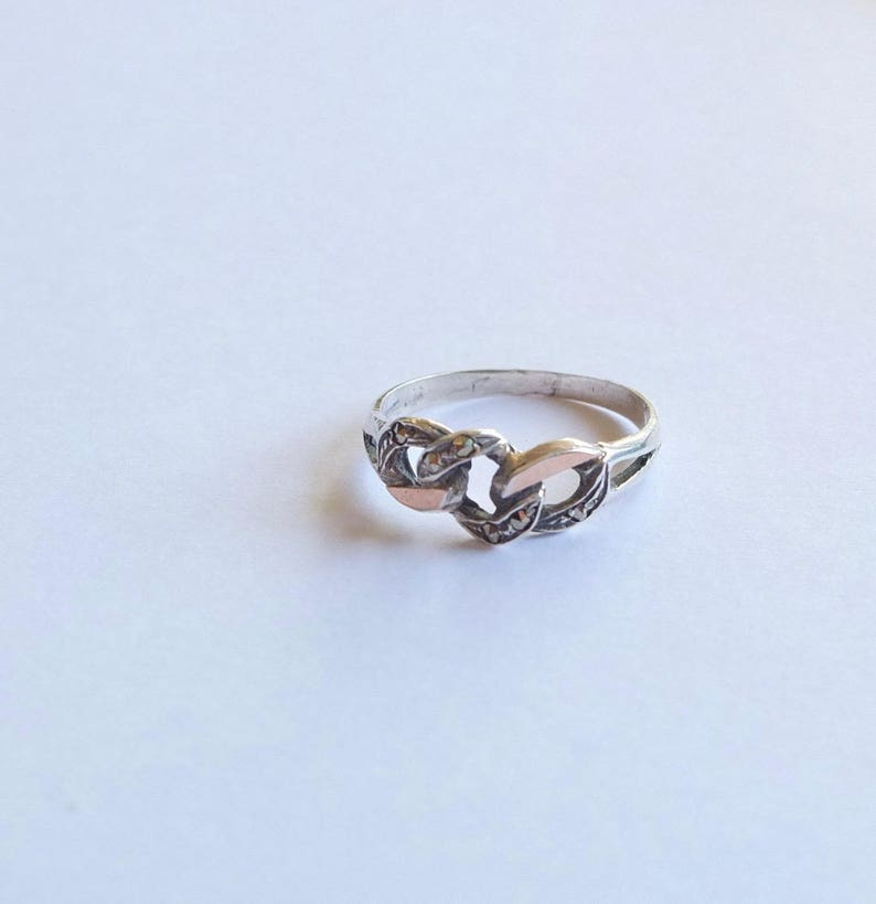 Knot Sterling Silver Ring with gold and Marquisettes Stones