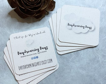 50 Square Custom Business Cards - 100 Percent Recycled Social Media cards - Product cards or Care cards