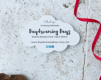Weather Cloud Business Cards, Eco Friendly Social Media Cards, Fluffy Cloud Recycled Tags or Earring Cards