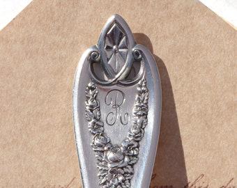 Spoon Keychain Silverware Key Chain Spoon Key Ring Vintage Silver Plate Silverware Old Colony R Monogram
