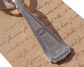 Spoon Keychain Silverware Key Chain Spoon Key Ring Vintage Silver Plate Silverware Countess Pattern Monogrammed EM
