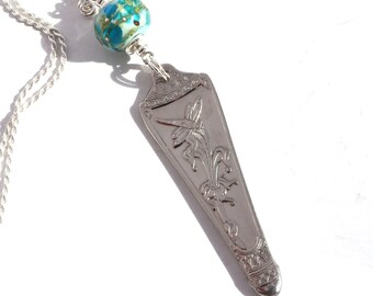 Vintage Spoon Handle Pendant Necklace Dragonfly Necklace Phoenix Necklace Lampwork Bead