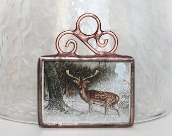 Postage Stamp Ornament Stained Glass Christmas Ornament Deer Great Britian Wintertime Soldered Ornament Royal Mail Christmas Decoration