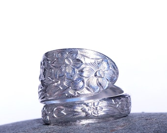 Spoon Ring, Spiral Ring, Wrap Ring, Statement Ring,  National Silver Narcissus Pattern, Floral Ring, Daffodil Ring