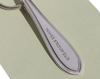 Yankee Stadium Club Vintage Silverware Key Chain Keychain Vintage Spoon Key Fob OOAK