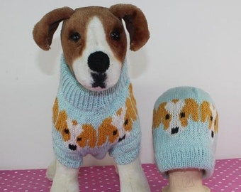 fad27fd48dae7 HALF PRICE SALE madmonkeyknits - Jack Russell Emoji Dog Coat and Beanie Hat  Circular knitting pattern pdf download - Instant Digital File pd
