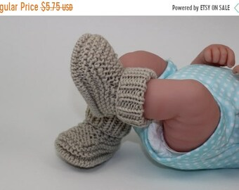 sale 25% off Instant Digital File PDF Download - Baby Simple Rib Cuff  Booties knitting pattern