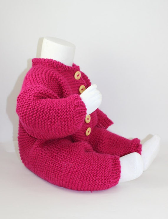 PRINTED INSTRUCTIONS-BABY ARAN BUTTON UP MOSS STITCH BODYSUIT KNITTING PATTERN