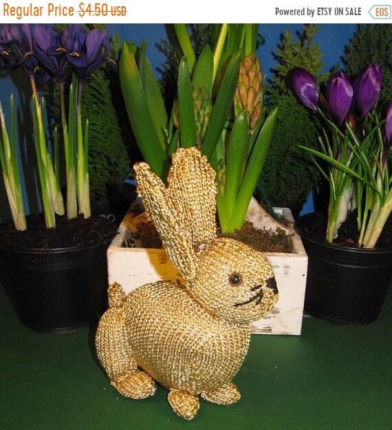 HALF PRICE SALE Instant Digital File Pdf Download Golden Bunny Rabbit  Toy knitting pattern pdf