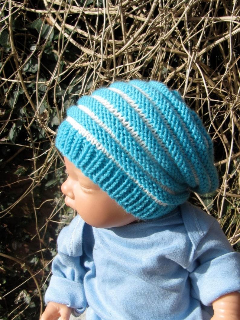 f7ca49bfeb7 Baby Stripey Roll Brim Tam Slouch Knitting Pattern - Amatcard.co