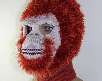 sale 25% off Instant Digital File PDF Download -Toddler Child and Adult  Orangutan Mask Balaclava knitting pattern by madmonkeyknits