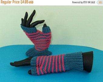 sale 25% off Instant Digital File pdf download Knitting pattern only - Stripe Pattern Fingerless Gloves knitting pattern
