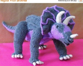sale 25% off Instant Digital File PDF Download knitting pattern -Tracy Triceratops toy dinosaur pdf download knitting pattern