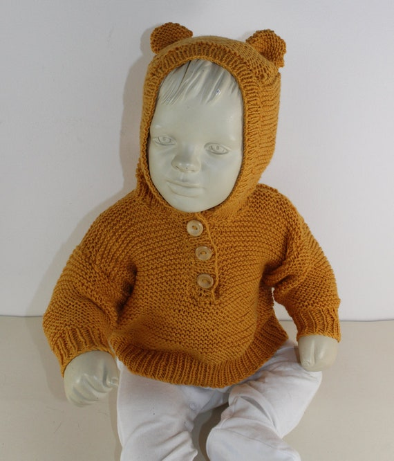 HALF PRICE SALE madmonkeyknits Baby Teddy Bear Hoodie | Etsy