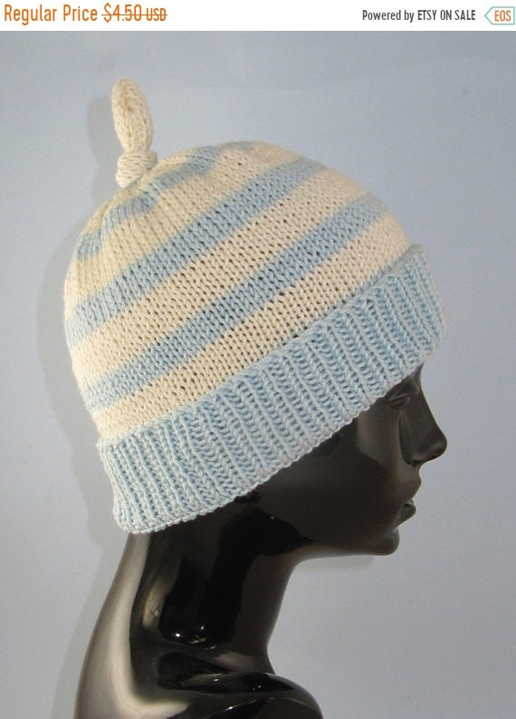 24ac5ba10a6 HALF PRICE SALE Instant Digita File Pdf Download Knitting Pattern - Simple  Stripe Topknot Beanie