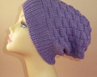 sale 25% off Instant Digital File PDF Download knitting pattern only -  Basket Weave Spring Slouch Hat pdf knitting pattern