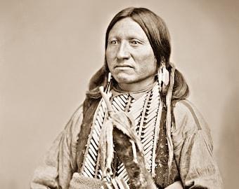 Kicking Bird, Restored Large Reprint Photograph of Vintage Native American Indian Kiowa Chief and Warrior
