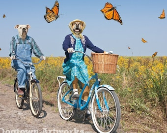 Parade of Butterflies, funny large original photograph of two boxer dogs riding vintage bicycles with a parade of monarch butterflies
