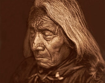 Professionally Restored Vintage Photograph of Native American Chief Red Cloud, Oglala Sioux Tribe Indian Warrior and Leader