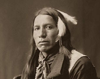 Yellow Shirt, Professionally Restored Reprint of Vintage Native American Lakota Sioux Indian Warrior Portrait Photograph