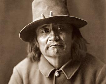 Navajo Policeman, Restored Vintage Photograph of Navajo Reservation Policeman Taken in 1904 by Edward Curtis