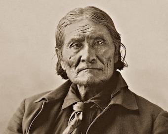 Geronimo, Professionally Restored Large Photograph of Vintage Native American Chiricahua Apache Indian Hero Legend Medicine Man
