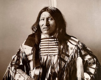 Kicking Bear, Restored Large Reprint Photograph of Vintage Native American Indian Oglala Lakota Sioux Chief