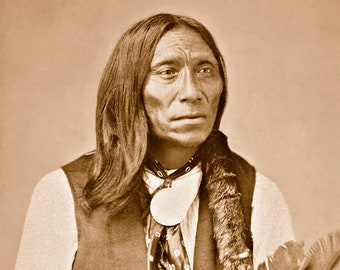 Swift Bear, Professionally Restored Vintage Photograph of Native American Brule Sioux Chief Swift Bear