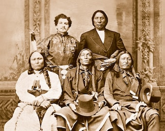 Four Chiefs, Professionally Restored Vintage Photograph of Native American Indian Chiefs Sitting Bull, Red Cloud, Swift Bear & Spotted Tail