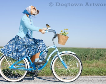 The Hitchhiker, funny large original photograph of Boxer dog dressed in vintage dress on a bicycle and giving a ride to a monarch butterfly
