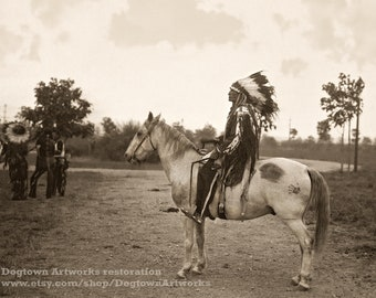 Broken Arm on Horseback, Professionally Restored Large Reprint Photograph of Vintage Native American Lakota Sioux Indian Chief on His Horse